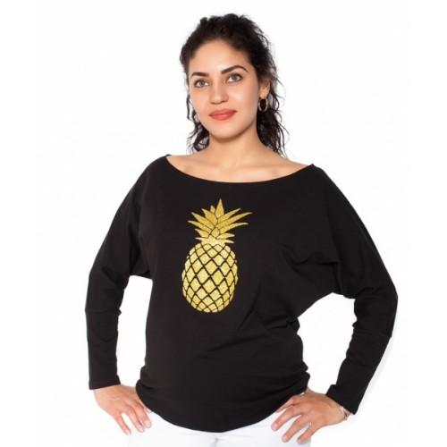 Be MaaMaa Tehotenská mikina, triko Ananas - čierné - L