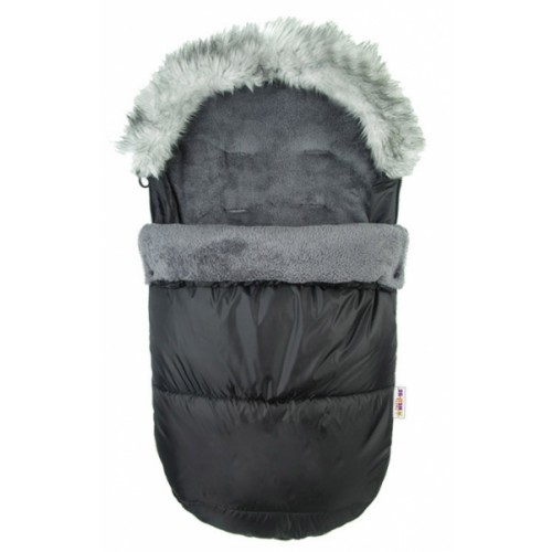 Fusak Delux Baby Nellys ® s kožušinou 105x50cm - čierný