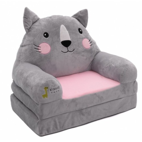 Baby Nellys Plyšové kresielko rozkladacie 3v1  - Kočka