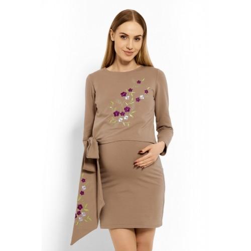 Be MaaMaa Elegantné tehotenské šaty, tunika s výšivkou a stuhou - cappuccino (dojčiace)