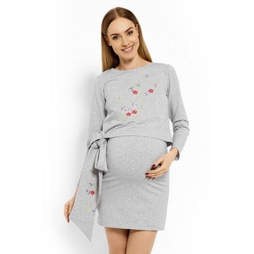 Be MaaMaa Elegantné tehotenské šaty, tunika s výšivkou a stuhou - jasno sivý (dojčiace)