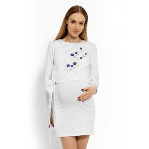 Be MaaMaa Elegantné tehotenské šaty, tunika s výšivkou a stuhou - biele (dojčiace)