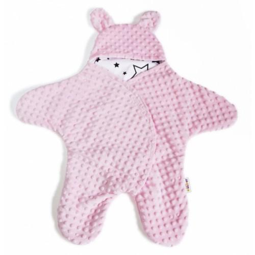 Baby Nellys Fusak, spacáček do autosedačky alebo kočíka s uškami, Minky - sv. ružový