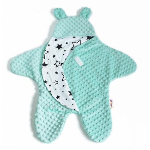 Baby Nellys Fusak, spacáček do autosedačky alebo kočíka s uškami, Minky - zelená,mátová