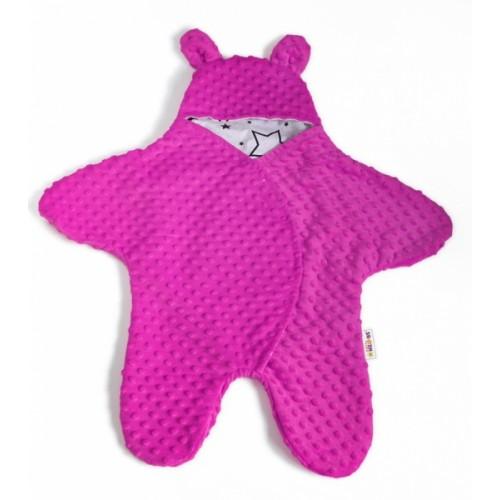 Baby Nellys Fusak, spacáček do autosedačky alebo kočíka s uškami, Minky - syto růžová