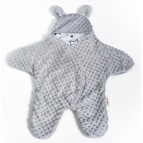 Baby Nellys Fusak, spacáček do autosedačky alebo kočíka s uškami, Minky - sivý