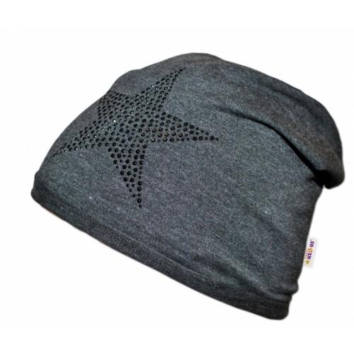 Bavlnená čiapočka Baby Nellys ® - Hviezda čierna