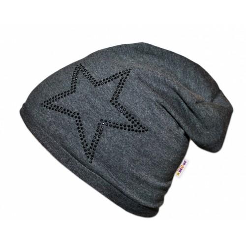 Bavlnená čiapočka Baby Nellys ® - Hvezdička/čierny lem