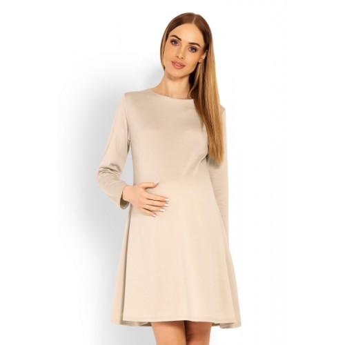 Be MaaMaa Elegantné voľné tehotenské šaty dl. rukáv - béžové, L/XL