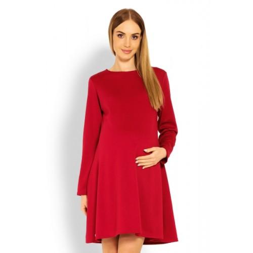Be MaaMaa Elegantné voľné tehotenské šaty dl. rukáv - bordo,červené