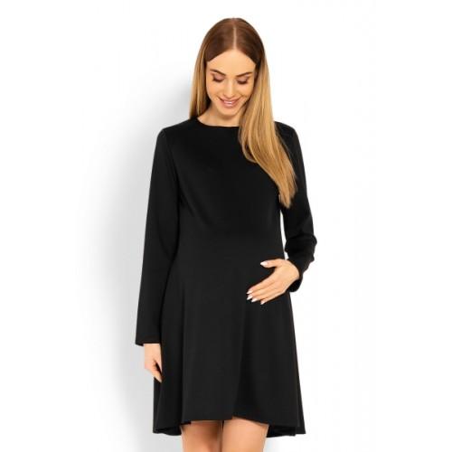 Be MaaMaa Elegantné voľné tehotenské šaty dl. rukáv - čIerné, L/XL