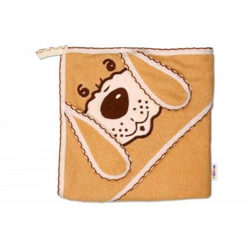 Baby Nellys Detská osuška Psík s kapucňou - hnedá