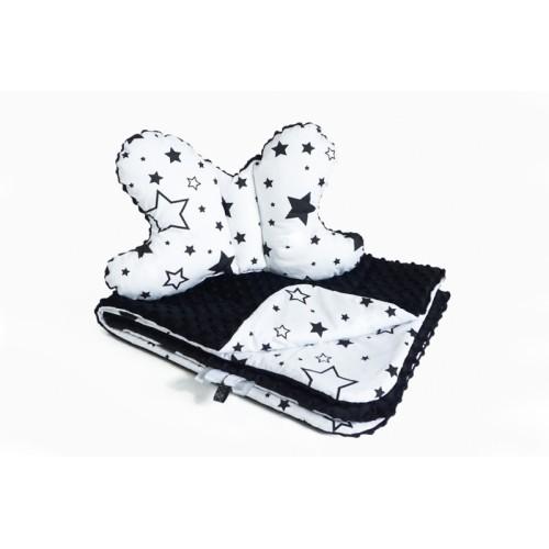 2-dielna Súprava do kočíka s Minky s motýlikom - hviezdičky, Minky - čierna/biela