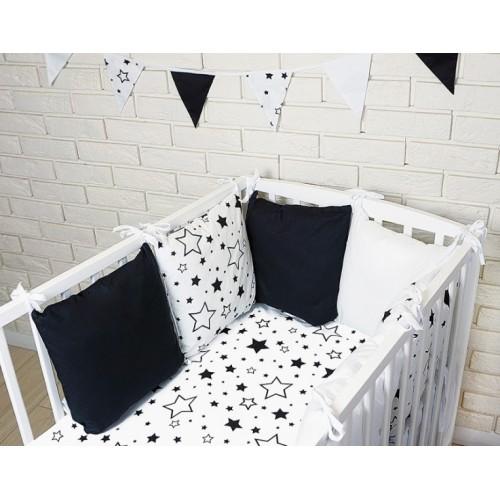Baby Nellys Vankúšikový mantinel s obliečkami - hviezdičky, čierna/biela, 135x100 cm