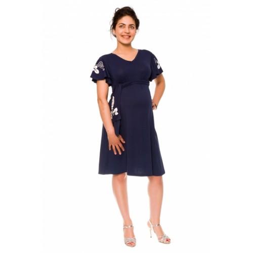 Be MaaMaa Elegantné tehotenské šaty Alexie, so stuhou a potlačou - granát, vel´. S