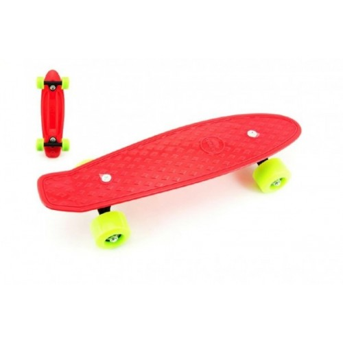 Teddies Skateboard - pennyboard 43cm, nosnosť 60kg plastové osi, červený, zelená kola.
