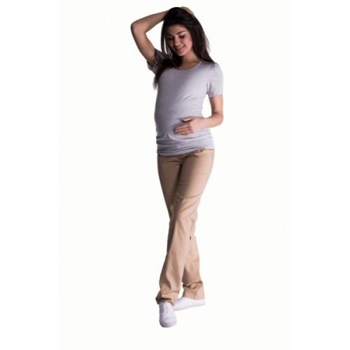 Be MaaMaa Bavlnené, tehotenské nohavice s regulovateľným pásom - béžové, vel. XXL