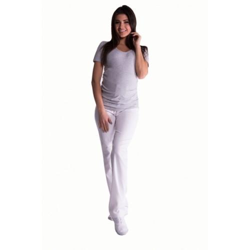 Be MaaMaa Bavlnené, tehotenské nohavice s regulovateľným pásom - biele, vel´. XXL
