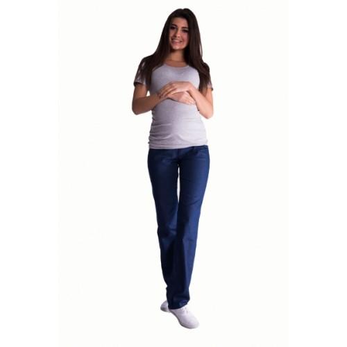Be MaaMaa Bavlnené, tehotenské nohavice s regulovateľným pásom - tm. modré