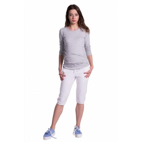 Be MaaMaa Moderné tehotenské 3/4 nohavice s vreckami - biele, vel´. L