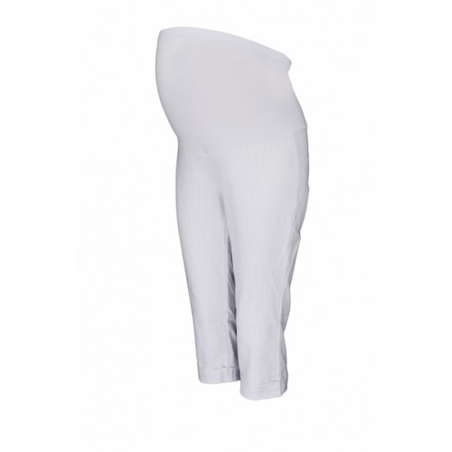 Be MaaMaa Tehotenské 3/4 nohavice s elastickým pásom - biele, vel´. XL