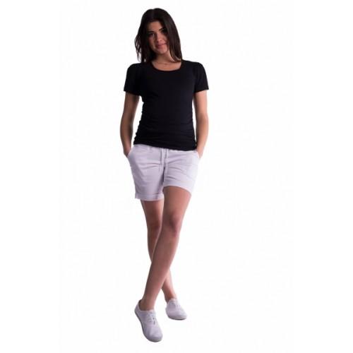 Be MaaMaa Tehotenské kraťasy s elastickým pásom - biele, vel´. M