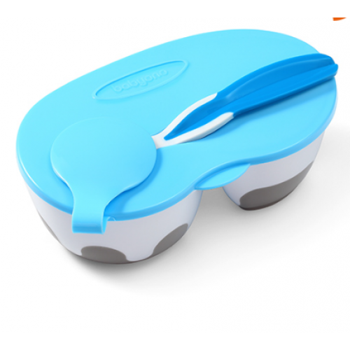 BabyOno Uzatvárateľný dvoukomora miska s lyžičkou - modrá