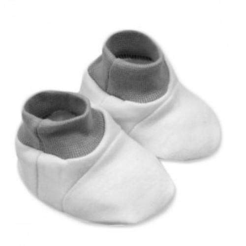 Baby Nellys Topánočky /ponožtičky, Little prince/princess Bavlna - biele s čer., šedým lem