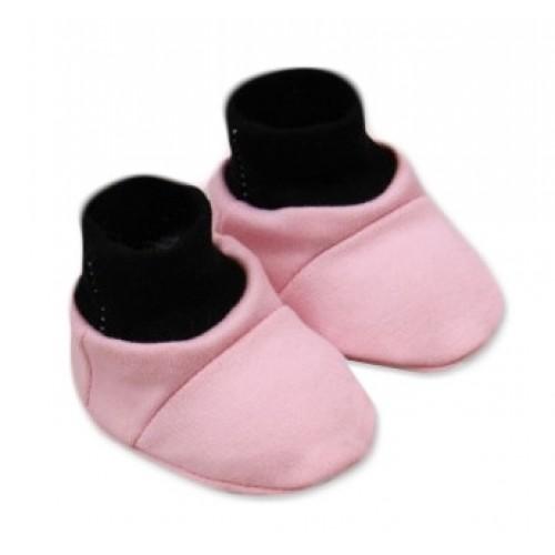 Baby Nellys Topánočky /ponožtičky Little princess Bavlna - Růžovo/čierne