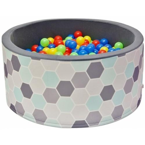 NELLYS Bazén pre deti 90x40cm kruhový tvar + 200 balónikov - šedy/máta, Ce19