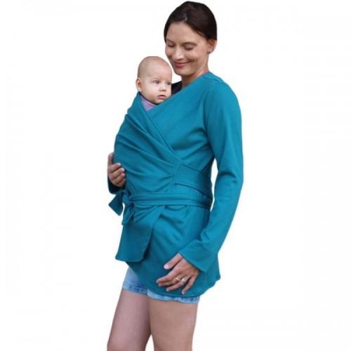 JOŽÁNEK Zavinovací kabátik pre nosiace, tehotné - biobavlněný - petrolejový, veľ. M/L