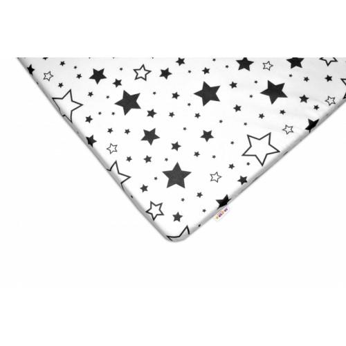 Baby Nellys Bavlnené prestieradlo 60x120 - Čierne hviezdy a hviezdičky - biele