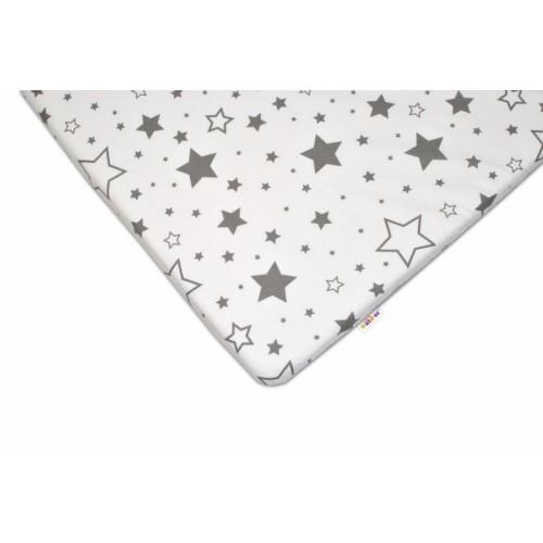 Baby Nellys Bavlnené prestieradlo 60x120 - Sivé hviezdy a hviezdičky - biele