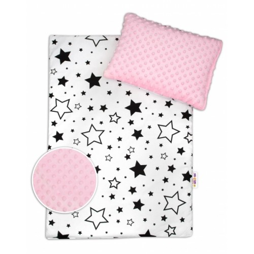 Baby Nellys 2-dielna sada do kočíka s Minky - Čierne hviezdy a hviezdičky / Minky ružová
