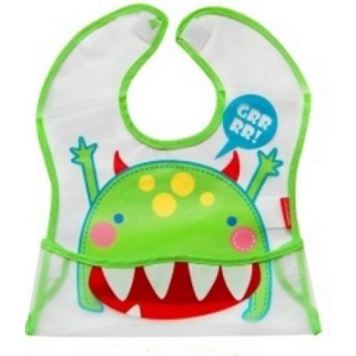 BOBO BABY Detská zásterka Příšerka - zelená