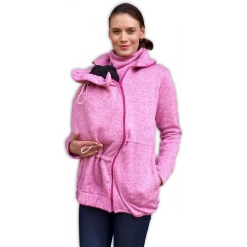 JOŽÁNEK Nosiaci fleecová mikina - pre nosenie dieťaťa vo predu - růžový melír