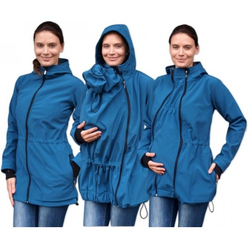 Bunda pre nosiace, tehotné - softshellová (predné nosenie) - petrolejová, veľ. L/XL