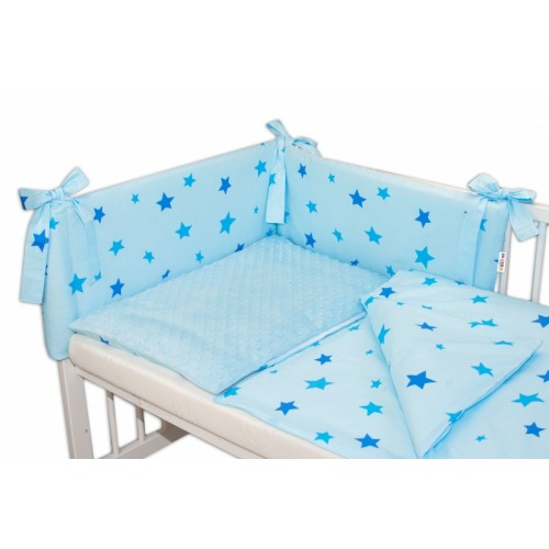 3- dielná sada mantinel s obliečkami Minky 135x100 hviezdičky modré - sv. modrá