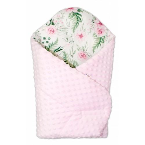 Baby Nellys  Obojstranná zavinovačka 75x75cm Minky - Kvetinky - ružová