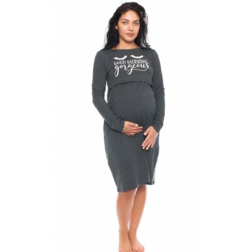 Be MaaMaa Tehotenská, dojčiaca nočná košeľa Gorgeous - grafitová, veľ. L/XL, B19