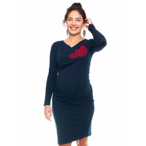 Be MaaMaa Bavlněné tehotenské a dojčiace šaty s potiskom Kvetin, granát