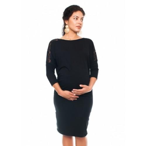 Be MaaMaa Elegantné tehotenské šaty s čipkou - čierne