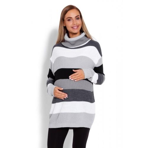 Be MaaMaa Dlhšie, prúžkovaný tehotenský svetrík, rolák - sivé pruhy