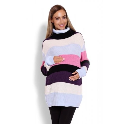 Be MaaMaa Dlhšie, prúžkovaný tehotenský svetrík, rolák - farebné pruhy