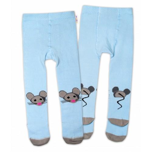 Baby Nellys Bavlnené pančucháče - Myška modrá