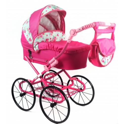 NESTOR Detský kočík pre bábiky s retro kolesami - rúžový, rože