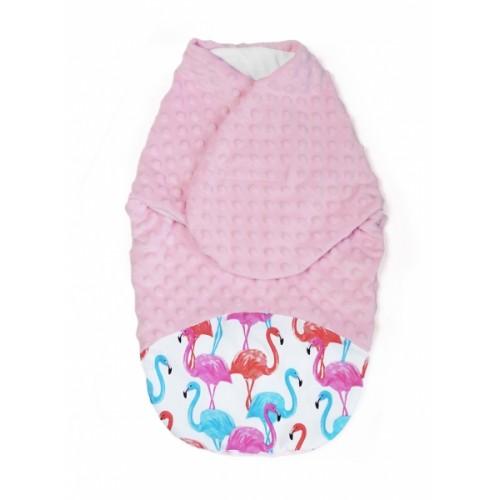 Baby Nellys Zavinovačka, spacáček s Minky, 0-6m - Plameniak, Minky ružová