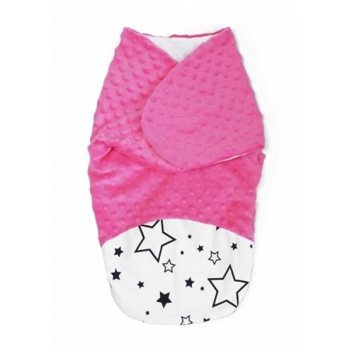 Baby Nellys Zavinovačka, spacáček s Minky, 0-6m - Hviezdy a hviezdičky, Minky ružová