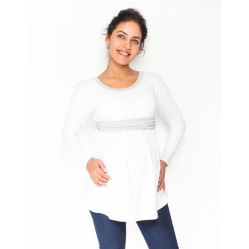 Be MaaMaa Tehotenská tunika s opaskom, dlhý rukáv Amina - biela /pásik sivý, veľ. M