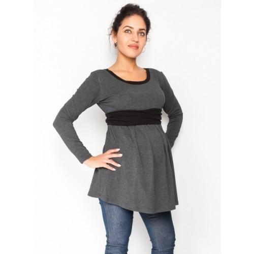 Be MaaMaa Tehotenská tunika s opaskom, dlhý rukáv Amina - grafit /pásik čierny, veľ. S